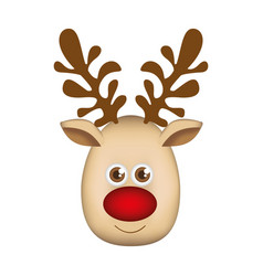 Colorful cartoon cute face reindeer animal vector
