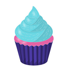 cupcake on white background vector image vector image