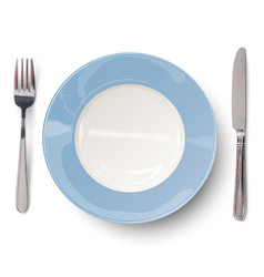 empty blue plate with knife and fork vector image vector image