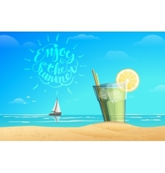 Glass with lemonad lettering vector image