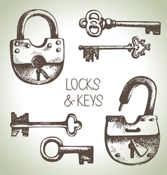 Hand drawn locks and keys set vector image