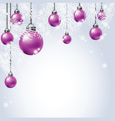 hanging colorful christmas ball with fir vector image vector image