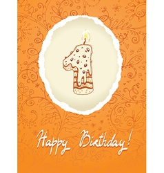 Happy Birthday Card with Candle Number vector image vector image