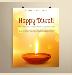 Happy diwali festival greeting with realistic vector