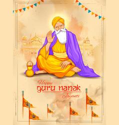 happy gurpurab guru nanak jayanti festival of vector image