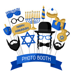 Happy hanukkah photo booth props accessories for vector