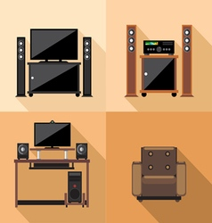 Home tv decoration set flat style Digital image vector image vector image