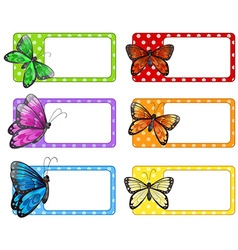 Lable design with colorful butterflies vector image vector image
