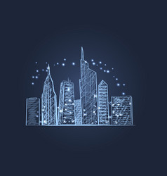 night city lights icon vector image