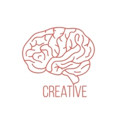 red brain like creative ideas vector image