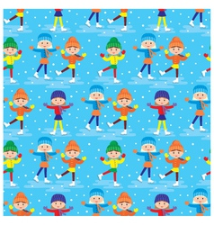 seamless girls on a skating rink pattern vector image