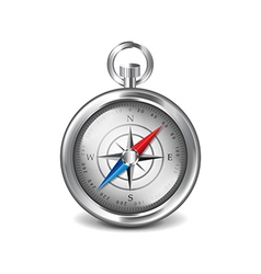 Silver compass isolated on white vector image vector image