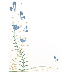 Stylized flowers and butterflies vector