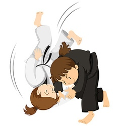 Two girls playing judo vector