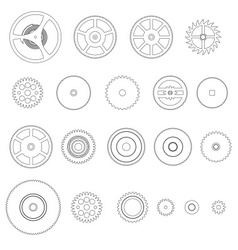 various outline cogwheels parts of watch movement vector image