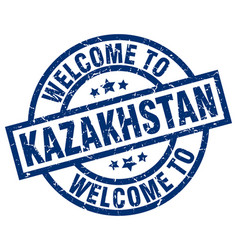 Welcome to kazakhstan blue stamp vector