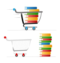 Shopping trolley with colour books vector image