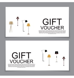Gift voucher template with variation of lamp vector
