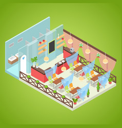 Summer cafe interior design isometric vector
