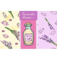 Perfect lavender set two seamless patterns bottle vector