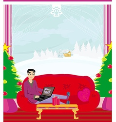 Christmas shopping online vector