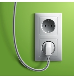 Electric white plug and socket on green wall vector
