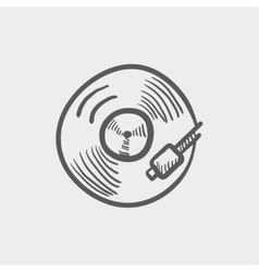 Phonograph turntable sketch icon vector