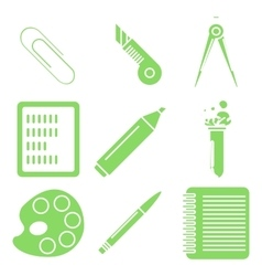 Black school goods green linear icons part 2 vector