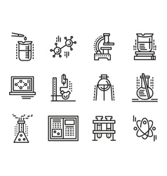 Chemistry symbols simple line icons set vector