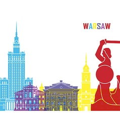 Warsaw skyline pop vector image