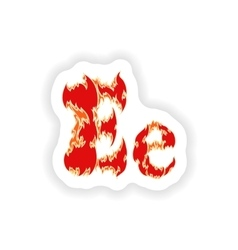 Sticker fiery font red letter e on white vector