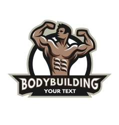 Bodybuilder badge emblem vector
