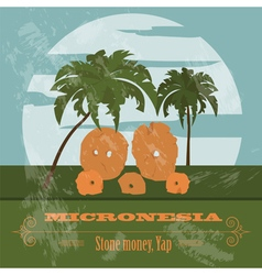 Micronesia stone money yap retro styled image vector