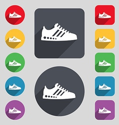 Sneakers icon sign a set of 12 colored buttons and vector