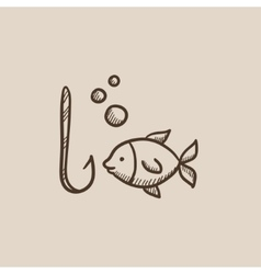 Fish with hook sketch icon vector