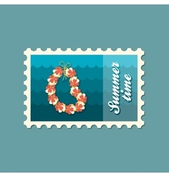Hawaii flowers necklace wreath stamp vacation vector