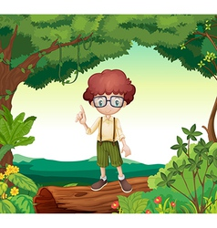 A boy standing on dry wood vector image