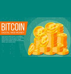 bitcoin banner digital web money gold vector image vector image