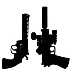 Black heavy handguns vector