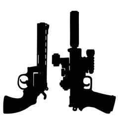 Black heavy handguns vector image vector image