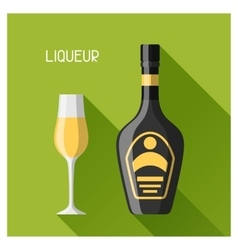 Bottle and glass of liqueur in flat design style vector