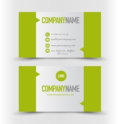 Business card set templategreen and silver grey vector