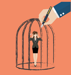 Business woman standing in a hand drawn cage vector
