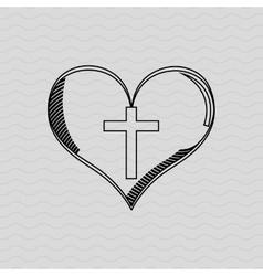 cross inside the heart design vector image vector image