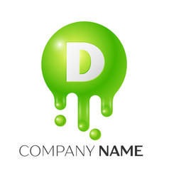 D letter splash green dots and bubbles letter vector
