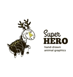 Deer in Superhero costume character isolated on vector image