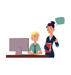 Displeased female boss managing employee vector