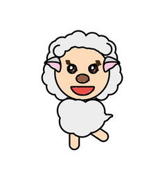 drawing sheep animal character vector image vector image
