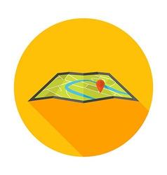 Flat Stylized Circle Map Icon vector image