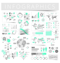 Infographics with data icons world map charts vector